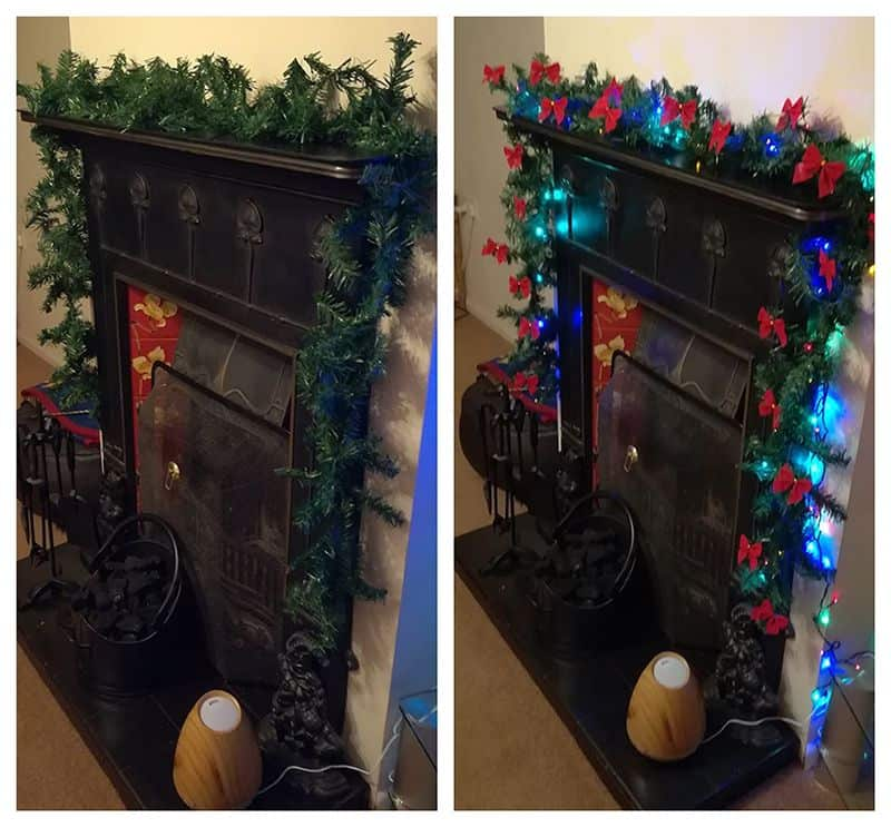 christmas garland with lights for mantelpiece