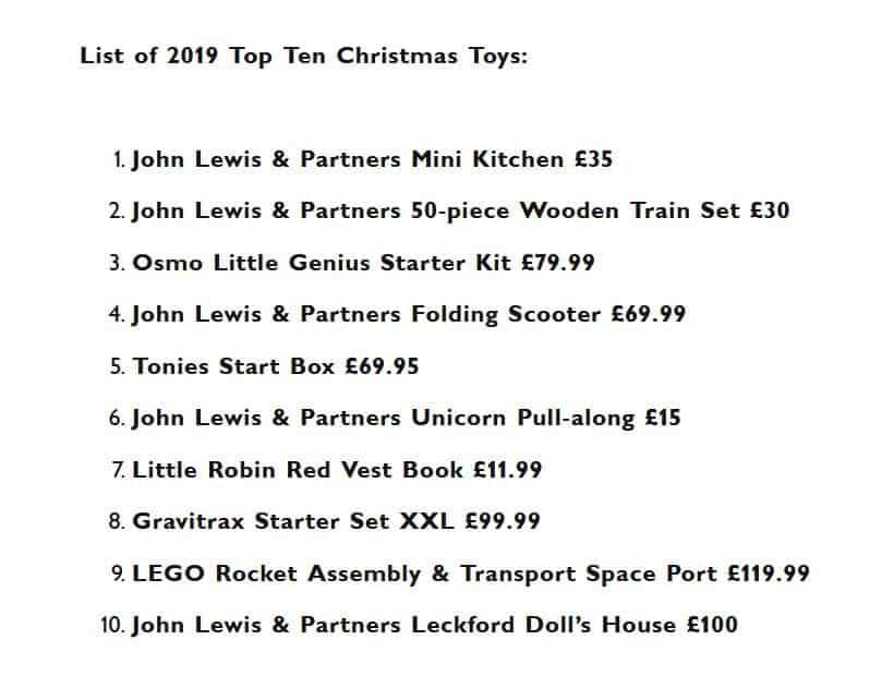 John Lewis Top 10 Christmas Toys for 2019